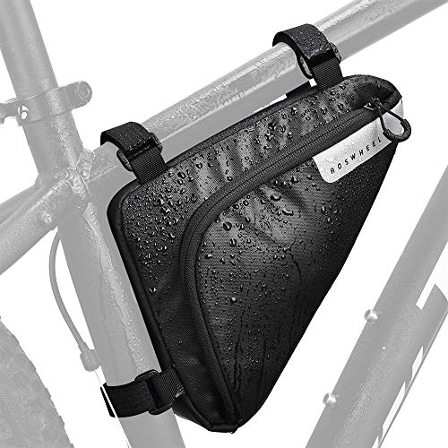WOTOW Bike Storage Frame Bag, Roswheel Bicycle Front Tube Triangle Water Resistant Cycling Pack Strap On Saddle Pouch Bike Accessories Tool Accessible Storage Bag for Road Mountain Commute Bike ()