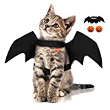 Halloween Bat Wings Cat Dog Costume Fancy Dress up with Pumpkin Bells Small Pet Puppy Cosplay Party Costume (bat)