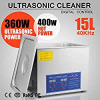 OrangeA Ultrasonic Cleaner Ultrasonic Cleaner Solution Heated Ultrasonic Cleaner 15L for Jewelry Watch Cleaning Industry Heated Heater with Drainage System (15Liter)