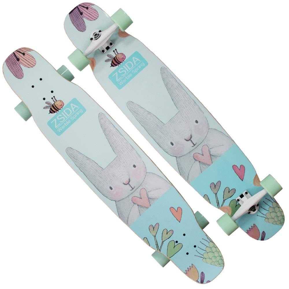 LJHBC スケートボード フリースタイルロングボードスケートボード 46.5×9.8インチ ワイドデッキ メープルダンスロングボードメイド 大人、男の子、女の子、10代の若者に適しています 440ポンドの負荷 C