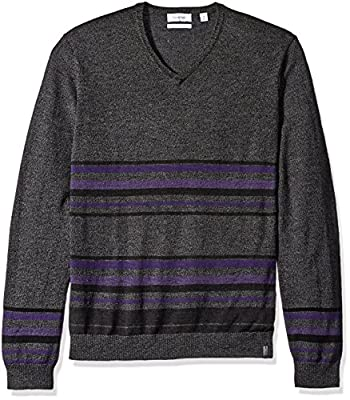 Calvin Klein Men's Merino Striped Color Block V-Neck Sweater