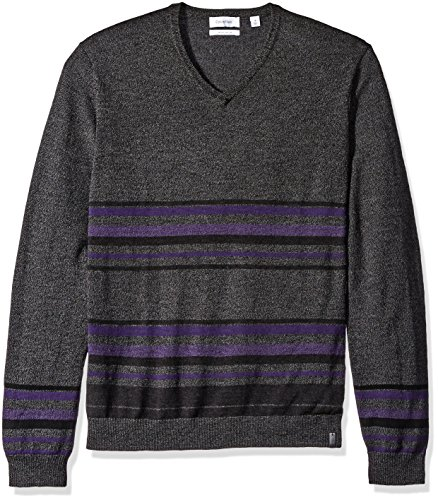 (Calvin Klein Men's Merino Striped Color Block V-Neck Sweater, Black/Gray Combo, Large)