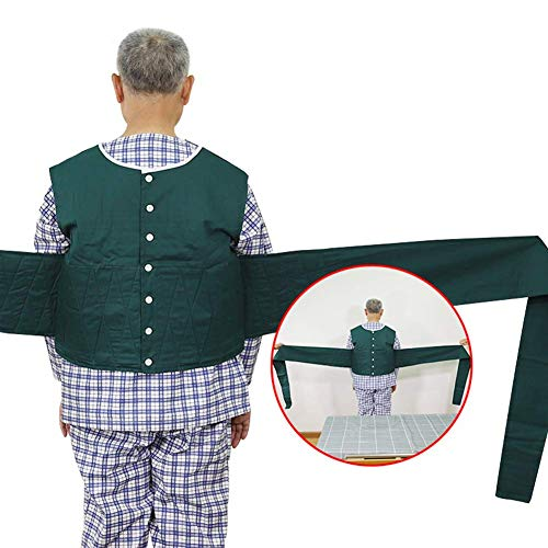 SHKY Medical Criss Cross Chest Vest Restraint,Adult Fall Prevention Constraint Vest,Cross Chest Vest Restraint for Use with Bed or Wheelchair,Green,L