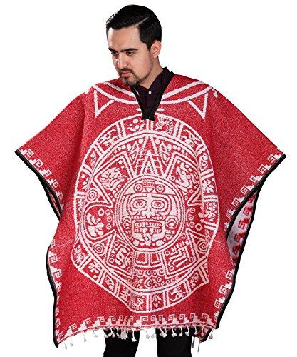 Authentic Mexican Poncho Reversible Cobija Blanket - Aztec Calendar (Red)