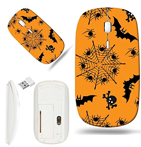 Luxlady Wireless Mouse White Base Travel 2.4G Wireless Mice with USB Receiver, 1000 DPI for notebook, pc, laptop, mac design IMAGE ID: 44638537 Halloween seamless pattern Illustrations of -