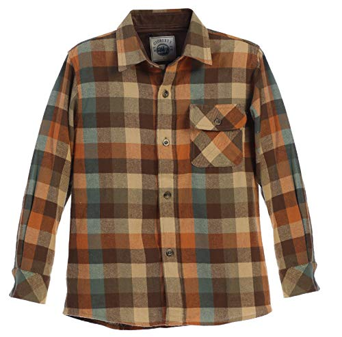 (Gioberti Boy's Flannel Shirt, Orange/Khaki / Teal, Size 14)