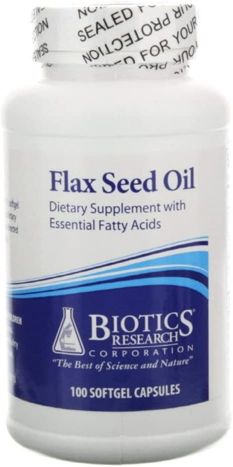 Biotics Research Flax Seed Oil — 100 Softgel Capsules
