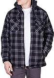 Walnut Creek Mens Fleece Lined Plaid Flannel Jacket (Medium, Black/Red)