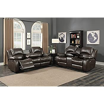 AC Pacific Samara Collection Modern Upholstered 2 Piece Living Room Set  With Reclining Sofa And