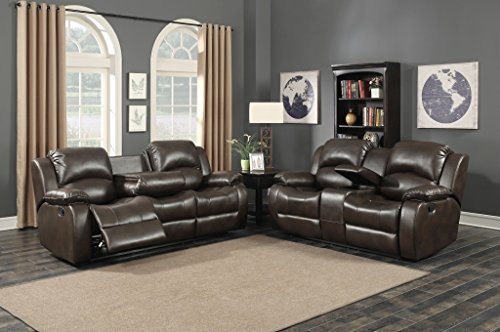 AC Pacific Samara Collection Modern Upholstered 2-Piece Living Room Set with Reclining Sofa and Loveseat with Storage Console and Cup Holders, Dark Brown