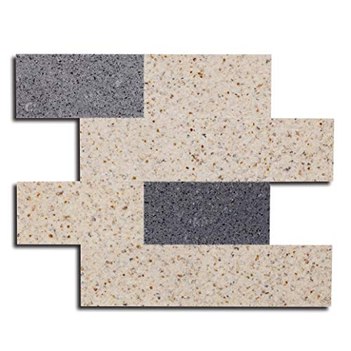 """Adhesive Wall Tiles for Kitchen/Bathroom/Fireplace/Bedroom/Peel and Stick/Backsplash Wall Stickers/Emboss/Fireproof/WaterProof/Handcrafts/12""""x15"""" per Tile/10 pcs per Pack"""