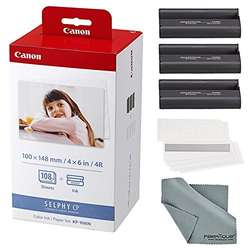 Canon KP-108IN Color Ink and Paper Set + Fibertique Cleaning Cloth ()