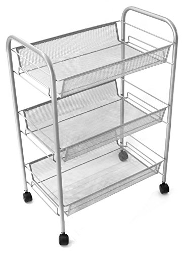 Esylife 3 Tier Metal Mesh Rolling Cart Utility Cart Kitchen Storage Cart On Wheels Sliver Buy