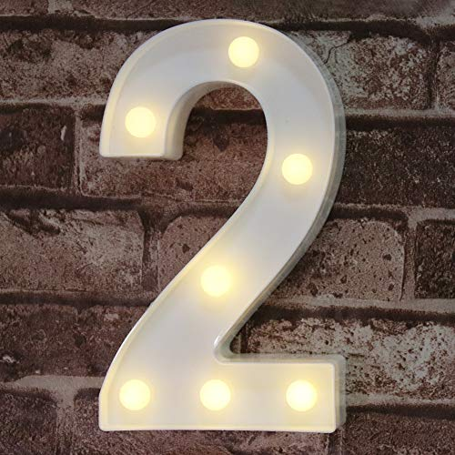 (Pooqla Decorative Led Light Up Number Letters, White Plastic Marquee Number Lights Sign Party Wedding Decor Battery Operated Number (2))
