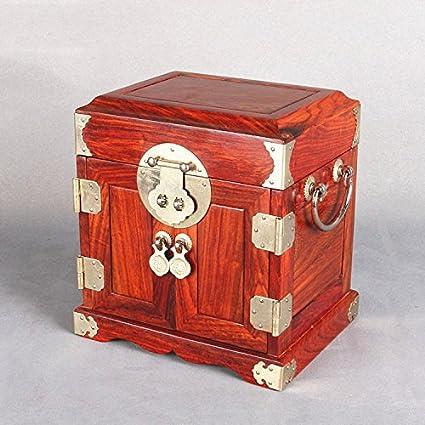 GFEI Rosewood caja de joyeria, chino antiguo de madera de boda, caja de almacenaje