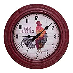 La Crosse 404-3630 12-inch Round Distressed Red Rooster Analog Wall Clock