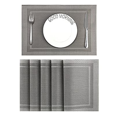 CHAOCHI Placemats Set of 6 Easy Wipe Clean Kitchen Dinner Table Mats Washable Woven Vinyl Placemats Stain Resistant Nonslip PVC Braided Place Mats for Dining Tablet, 45CM X 30CM (Gray + Silver) - No fading and quality material: 18'' x 12'' (45CM X 30CM) placemats sets of 6 was made of 70% vinyl PVC and 30% polyester yarn which are Eco-friendly. No fading and stain resistant dining table mats can be used on both two sides, perfect to protects your table top. Easy to clean and Durable: Washable vinyl placemats for dining table are a great way to keep mess off the dinner table, but also easy to wipe off or clean and provide a nice non skid placemats surface which is help to stop moving. Elegant Design and classy looking silver with grey placemats are blend with almost any color. neutral background allows you many ways to work them into your color scheme, They are great for when you have guests over. Make your guests impressed. - placemats, kitchen-dining-room-table-linens, kitchen-dining-room - 51 WU9JUdsL. SS400  -