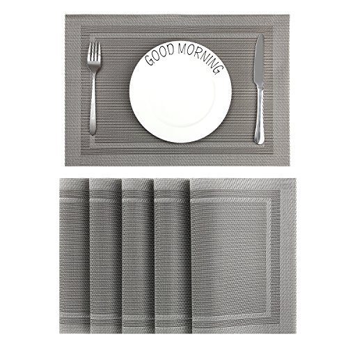 CHAOCHI Placemats Set of 6 Easy Wipe Clean Kitchen Dinner Table Mats Washable Woven Vinyl Placemats Stain Resistant Nonslip PVC Braided Place Mats for Dining Tablet, 45CM X 30CM (Gray + Silver)
