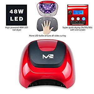 MelodySusie 48W LED Nail Lamp - Smart Gel Nail Dryer with LED Light Beads Curing All Brands LED Gel Nail Polish (Chic Red)