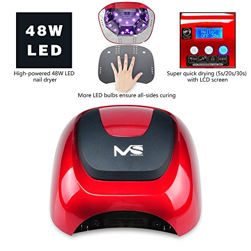 MelodySusie 48W LED Nail Lamp - Smart Gel Nail Dryer with LED Light Beads Curing All Brands LED Gel Nail Polish (Chic Red) by MelodySusie