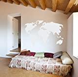 World Map Vinyl Wall Art Sticker | Earth Home Decor Removable Sticker Easy to Apply Wall Graphic (White, 22x32 inches)