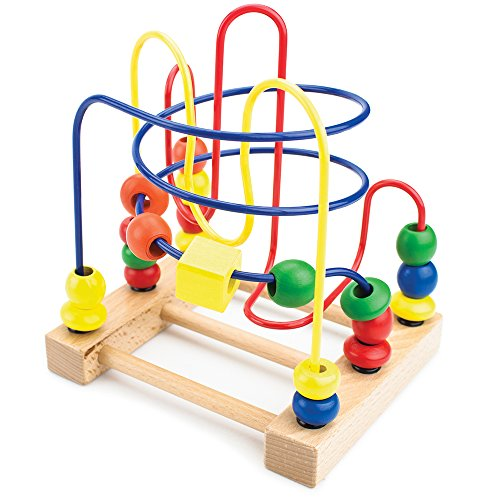 Classic Wooden Bead Maze Coaster Toy with Fun Shapes | Early Learning Activity Center for All Ages Toddlers and Children | All Wood with Safe, Vibrant Paint Colors | Beads ()