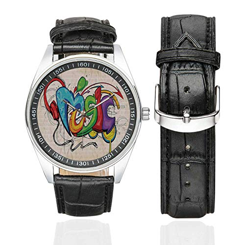 Music Decor Casual Leather Strap Watch,Illustration of Graffiti Style Music Lettering Headphones Hip Hop Rhythm Tempo Hipster Concept for Men,Case Diameter:1.57