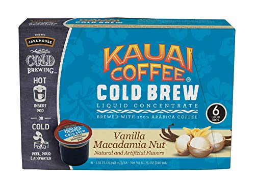 JAVA HOUSE Authentic Cold Brew Coffee Kauai Vanilla Macadamia Nut K-Cup Coffee Pods (6 Count) Serve Hot or Cold