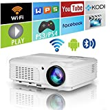 2018 Home Wireless Bluetooth Projector HD HDMI Airplay Android Apps 3600 Lumens for iPhone Macbook iPad Laptop Phones Tablets PC DVD,Portable Smart WXGA 1280x800 LED LCD Movie Game Projector with Wifi