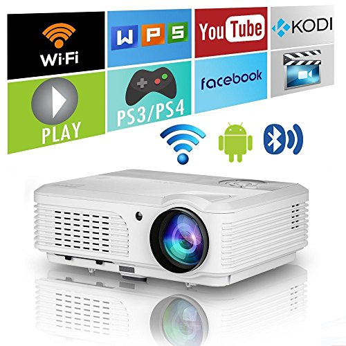 Smart WXGA LCD Android Projector HD 1080P with Bluetooth HDMI Wifi,3600 Lumens Home Theater Wireless Bluetooth Projector Outdoor Movie Gaming System,LED Proyector 1280x800 with USB VGA AV Audio Out