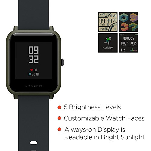 Amazfit Bip Smartwatch by Huami with All-day Heart Rate and Activity Tracking, Sleep Monitoring, GPS, Ultra-Long Battery Life, Bluetooth, US Service and Warranty (A1608 Green) by Amazfit (Image #5)