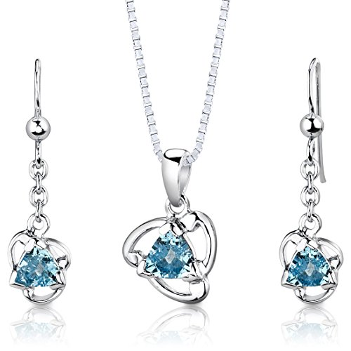 (Swiss Blue Topaz Pendant Earrings Necklace Set Sterling Silver 2.50 Carats)