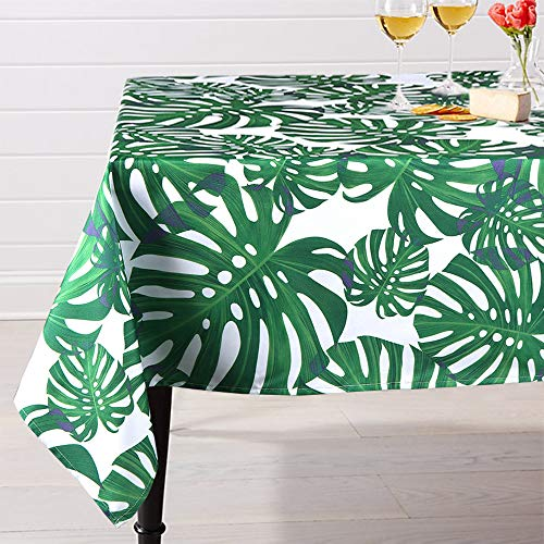 Lahome Palm Leaf Pattern Tablecloth - Water Resistant Polyester Washable Table Cover with Green Monstera Palm Leaves for Spring Summer Birthday Party Home Decor (Palm Leaf, Rectangle - 60