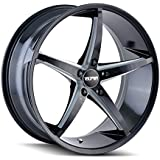TOUREN TR70 Black/Milled Spokes Wheel (17 x 7.5 inches /5 x 74 mm, 40 mm Offset)