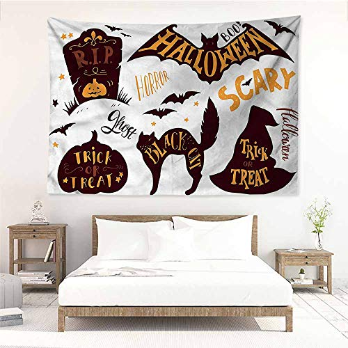 Bedroom Tapestry,Vintage Halloween Ghost Candy Scary,Wall Tapestry for Bedroom,W74x57L ()