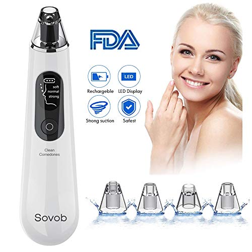 Sovob Blackhead Remover Pore Vacuum Cleaner -Upgraded Strong Suction USB Rechargeable Electric Blackheads Removal Tool Pore Cleaner Comedone Acne Extractor with Large LED Screen Unisex