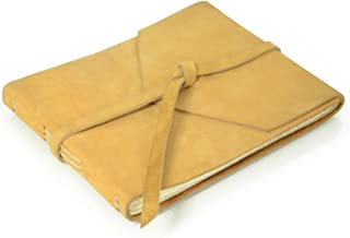 product image for Rustic Leather Guest Book - Hand-sewn with Tie Wrap & Rough Cut, Lined Pages - Buckskin