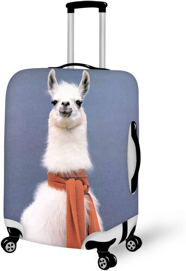 Washable Travel Luggage Cover Elastic Suitcase Trolley Protector Cover for 22-24 inch Luggage Llama red scarf