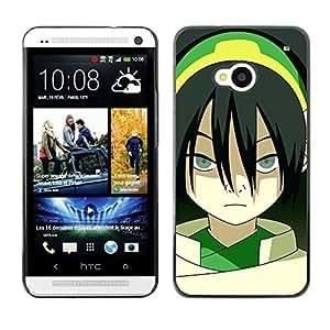 KLONGSHOP // Cubierta de piel con cierre a presión Shell trasero duro de goma Protección Caso - Asian Girl - HTC One M7 //