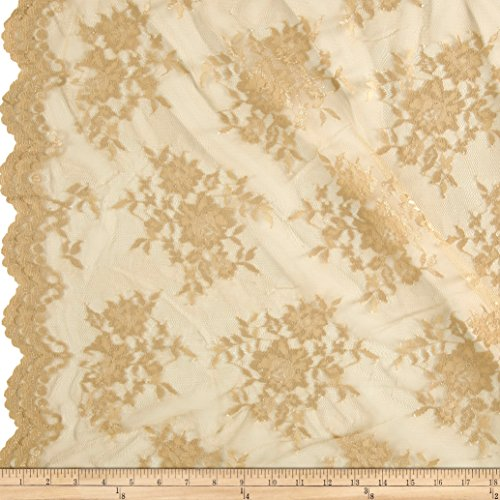 Chantilly Lace Double Border Gold Fabric By The (Chantilly Lace Fabric)