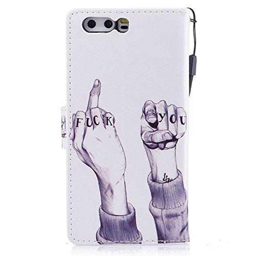 Funda Huawei P10,SainCat Funda de cuero sintético tipo billetera con correa de cordón de Suave PU Carcasa Con Tapa y Cartera,Ranuras para Tarjetas y Billetera Funda de Flip Ranuras Tarjeta Slots Funci Finger FUCK
