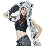 HUSKY Full Animal Hoodie Hat 3-in-1 Function Faux FUR