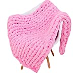 Super Chunky Hand Knit Throw,Extra Chunky Chenille Blanket,Pink Thick Knit Blanket Bedroom Nursery Décor