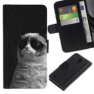 For SAMSUNG Galaxy S4 IV / i9500 / i9515 / i9505G / SGH-i337,S-type® Grumpy Cat Black White Siamese Whiskers - Dibujo PU billetera de cuero Funda Case Caso de la piel de la bolsa protectora