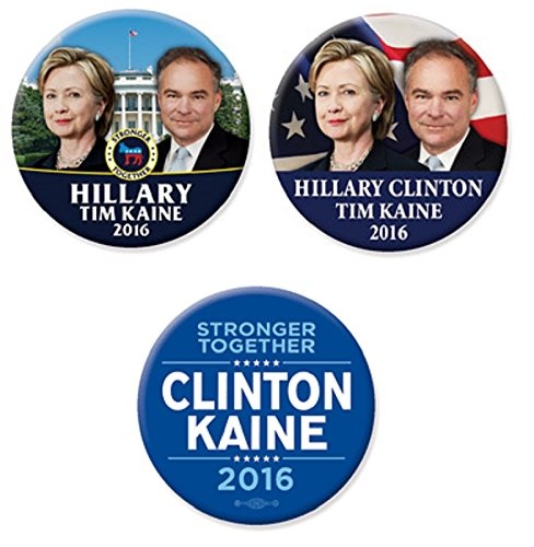 Just Released Hillary Clinton Tim Kaine 2016 Campaign Button Set of 3