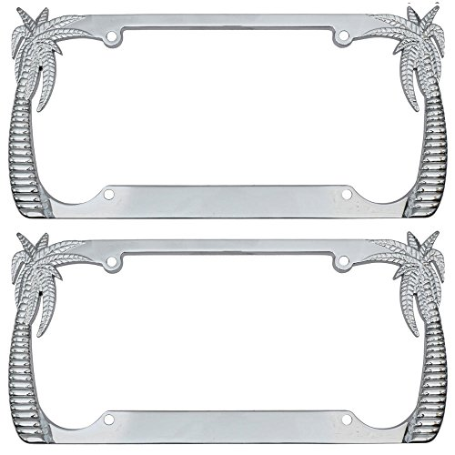 BDK InstaTrim Polished Chrome Metal Palm Tree License Plate Frames Pair (2pcs) for Car Auto Truck SUV (Tropical Palm Trees) (Palm Tree License Plate Frame)