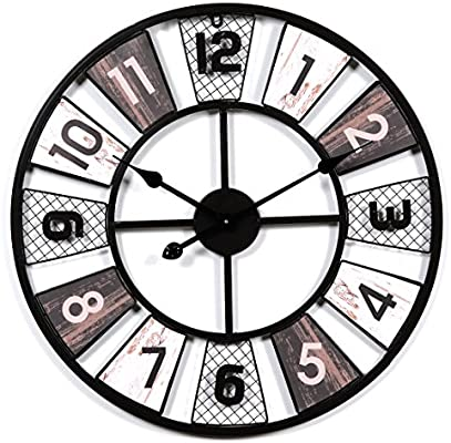 Foxom Relojes de Pared Grandes, Stunning Metal Vintage Relojes de Pared con Numeri Arabi - Negro (60cm/23.6in de diámetro)