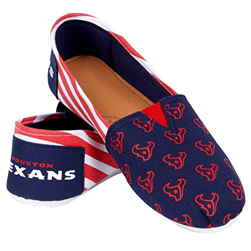 Houston Texans Shoe - NFL Houston Texans Women's Canvas Stripe Shoes, Medium (7-8), Blue