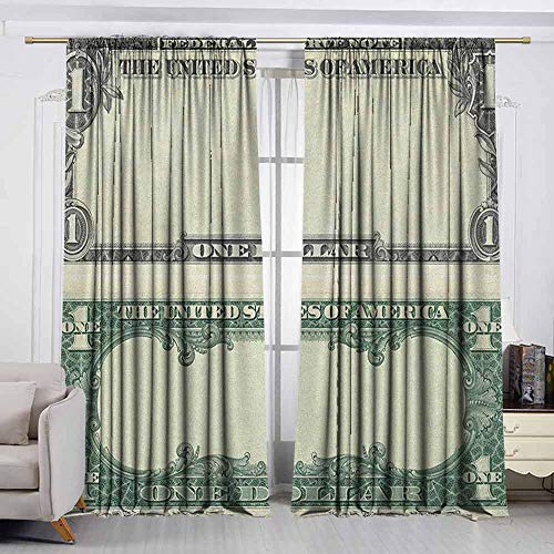 VIVIDX Balcony Curtains,Money,One Dollar Bill Buck Design American Federal Reserve Note Pattern Wealth Symbol,Darkening and Thermal Insulating Draperies,W55x63L Inches Pale Green Grey