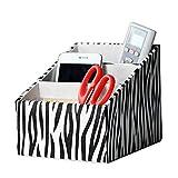 Lalago PU Leather Desk Organizer Home Office Storage Box(zebra)